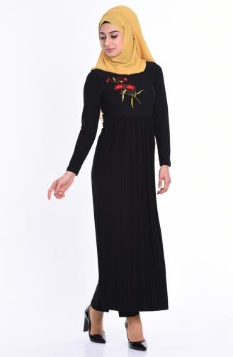 Nakışlı Piliseli Uzun Tunik 0934-01 Siyah Sefamerve