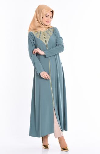 Sude Embroidered Abaya 2107-06 Almond Green 2107-06