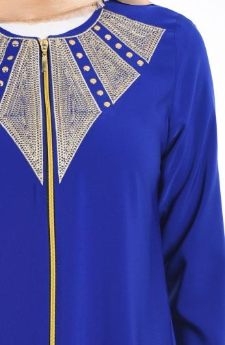 سويد عباءة بتفاصيل مُطرزة 2107-08 لون أزرق 2107-08
