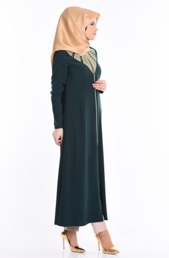 Abaya mit Stickerei 2107-05 Smaragdgrün 2107-05