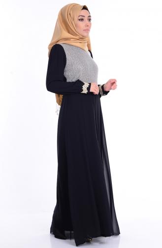 Dantelli Abiye Elbise 4110-01 Siyah Sefamerve