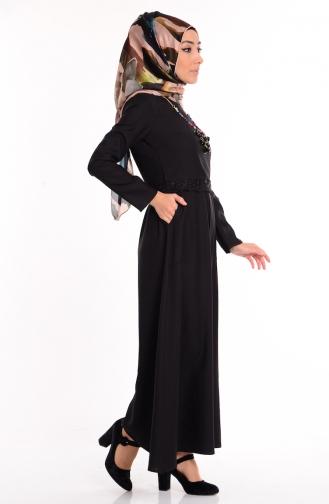 Cep Detaylı Kolyeli Elbise 5001-01 Siyah Sefamerve