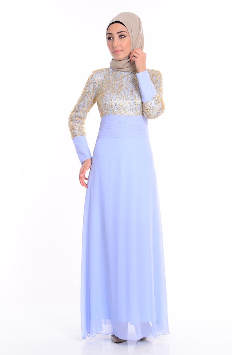 4cd01f076babc Pullu İşlemeli Abiye Elbise 2369-12 Buz Mavi