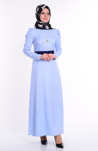 Kol Büzgülü Kuşaklı Elbise 5496-08 Mavi Sefamerve