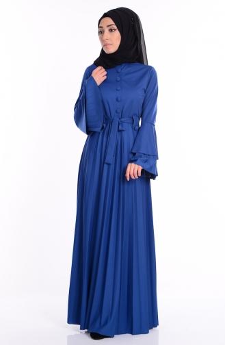 Piliseli Kuşaklı Elbise 1061-10 İndigo Sefamerve