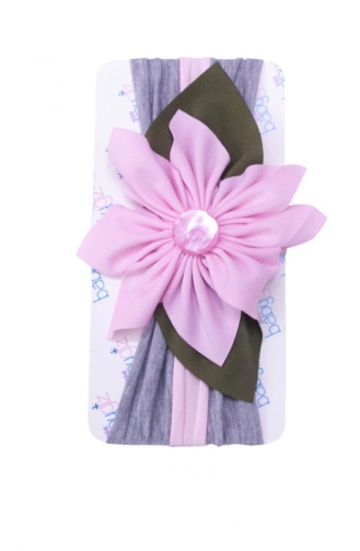 Bandana mit Blumen NB50 Pink-Grau 50