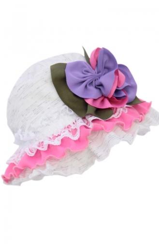 Hut mit Falbel und Blumen NS108 Naturfarbe Melanje 108