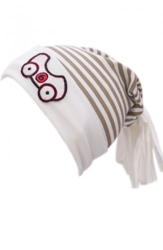 Gestreifte Hut-Mütze NS36 Naturfarbe Kamel 36