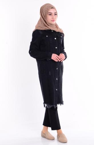 Düğmeli Kot Ceket 6152-01 Siyah Sefamerve