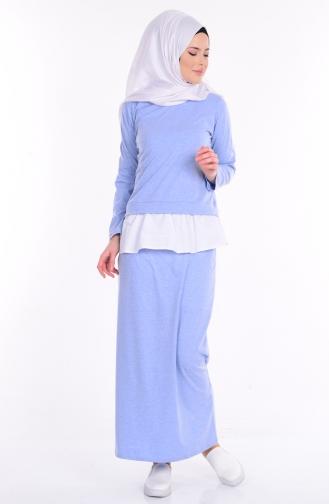 Bluz Etek İkili Takım 4070-07 Mavi Sefamerve