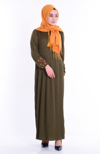 Piliseli Elbise 1342-08 Haki Yeşil Sefamerve