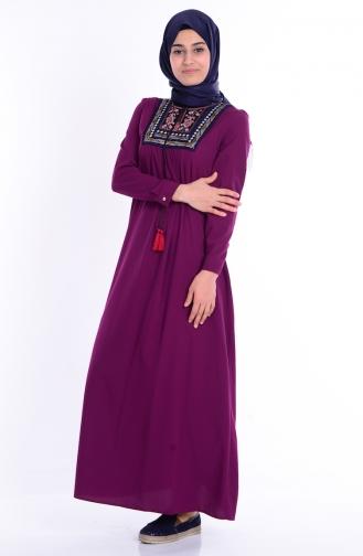 İşlemeli Elbise 1605-02 Mürdüm Sefamerve