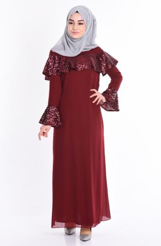 Sefamerve Fırfırlı Payetli Abiye Elbise 2967-06 Bordo