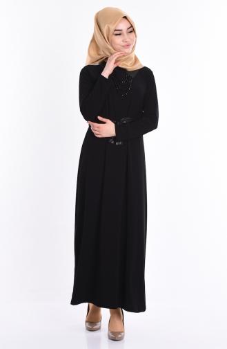 Kolye Detaylı Elbise 5054-04 Siyah Sefamerve