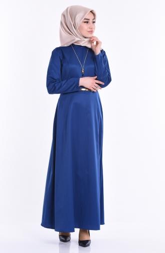 Kemerli Kolyeli Elbise 2201-13 Açık Lacivert