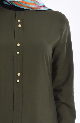 Pile Detaylı Düğmeli Tunik 1072-08 Haki Yeşil