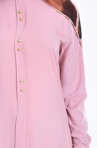 Pile Detailed Button Tunic 1072-12 Powder 1072-12