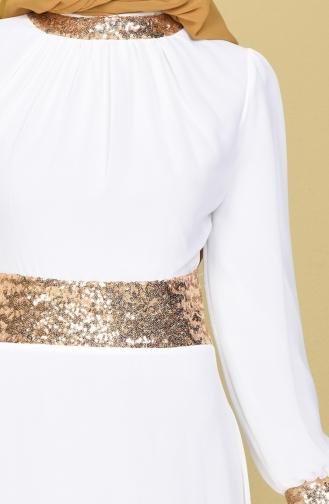 Ecru Islamic Clothing Evening Dress 2398-22