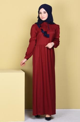 Garnili Düğmeli Elbise 5711-03 Bordo Sefamerve