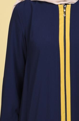 Abaya mit Patchwork 1057-02 Dunkelblau Öl Grün 1057-02