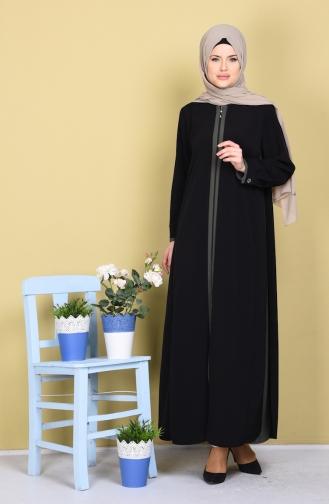 Abaya Garnie a Fermeture 1057-04 Noir Vert Khaki 1057-04