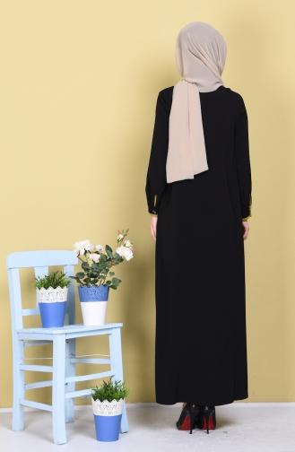 Abaya mit Patchwork  1057-05 Schwarz Öl Grün 1057-05