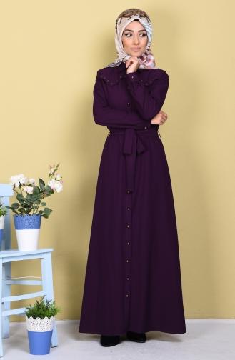 Düğmeli Kuşaklı Elbise 61133-06 Mor Sefamerve
