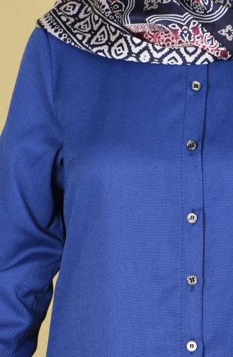 Düğmeli Tunik 6251-09 Açık Lacivert 6251-09