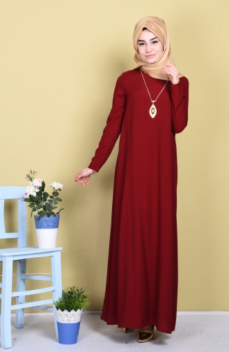 Kolyeli Elbise 8052-01 Bordo Sefamerve