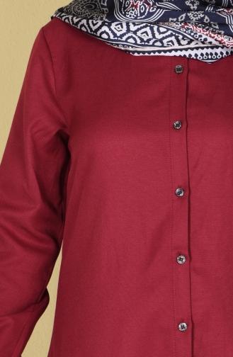 Düğmeli Tunik 6251-03 Bordo