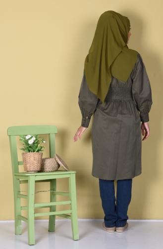 Tunique Bordée Taille Plissée 5202-02 Vert Khaki 5202-02