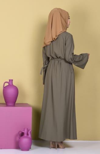 Abaya a Fermeture Col Officie 7720-01 Vert Khaki 7720-01