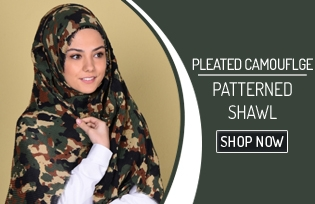 Pleated Camouflge Patterned Shawl 90083