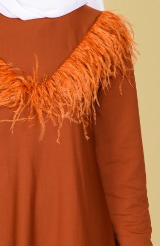 Brick Red Hijab Dress 6220-05
