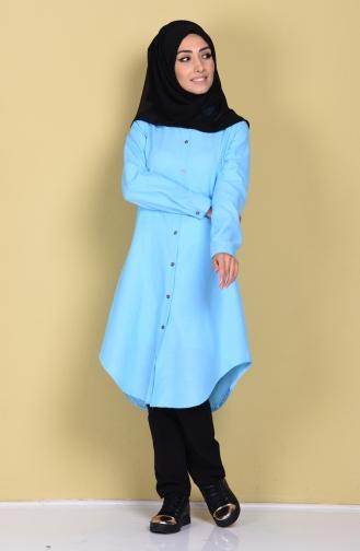 Tunique avec Bouton 2101-23 Turquoise 2101-23