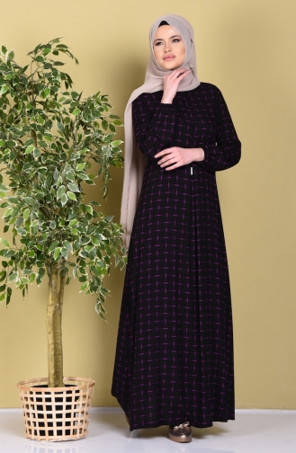 Viskose Kleid mit Schnürer 1255-03 Schwarz 1255-03