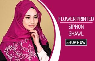 Flower Printed Sıphon Shawl 70015