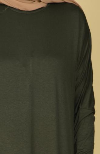 Plain Cotton Abaya 17981-02 Khaki Green 17981-02