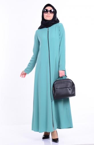 Abaya a Fermeture 2098-08 Vert Noisette 2098-08