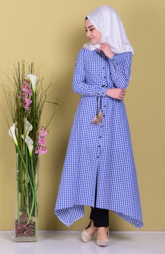 Kemerli Kareli Elbise 8051-04 Mavi Sefamerve