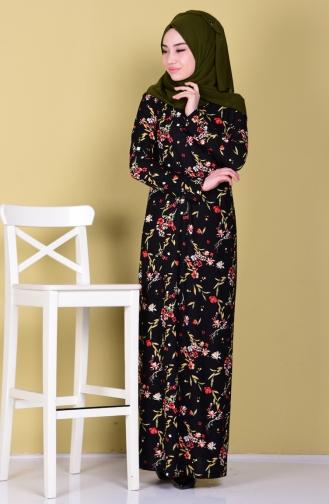 Örme Krep Astarlı Elbise 2767D-01 Siyah Sefamerve
