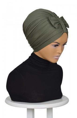 Bonnet mit Schleifer aus Gekämmte Baumwoll-Khaki Grün B0007-13 0007-13