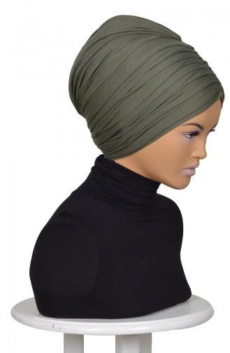 Geraftes Bonnet aus Gekämmte Baumwoll-Khaki Grün B0013-13 0013-13