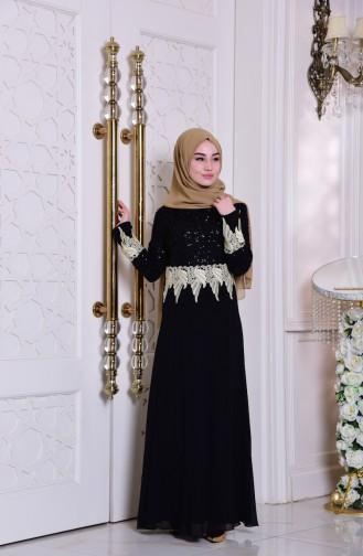 Dantel Detaylı Şifon Elbise 2949-04 Siyah Sefamerve