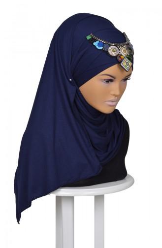 Praktisch Schal mit Accessoire aus Gekämmte Baumwoll-Dunkelblau CPS0032-11 0032-11