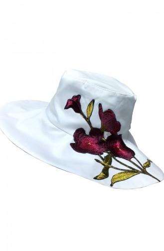 Chapeau Bordé de Fleurs NS120 Rose Blanc 120