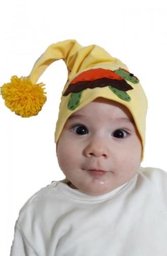 Hut aus Gekämmte Baumwolle mit Pompon NS93 Gelb 93