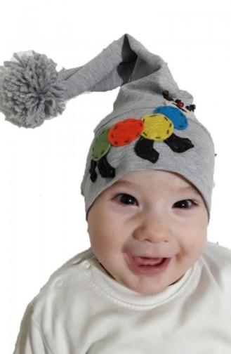 Hut aus Gekämmte Baumwolle mit Pompon NS94 Grau 94