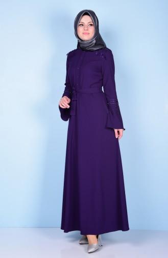 Hakim Yaka Kemerli Elbise 1115-03 Mor Sefamerve