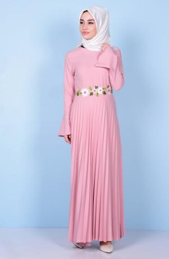 Nakış Detaylı Piliseli Elbise 81384-04 Pudra Sefamerve